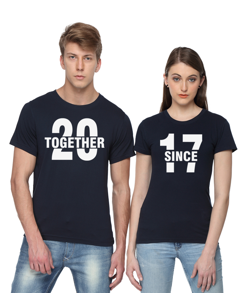 Together since 2017 couple t shirts from pepperclub india for Couple printed t shirts india