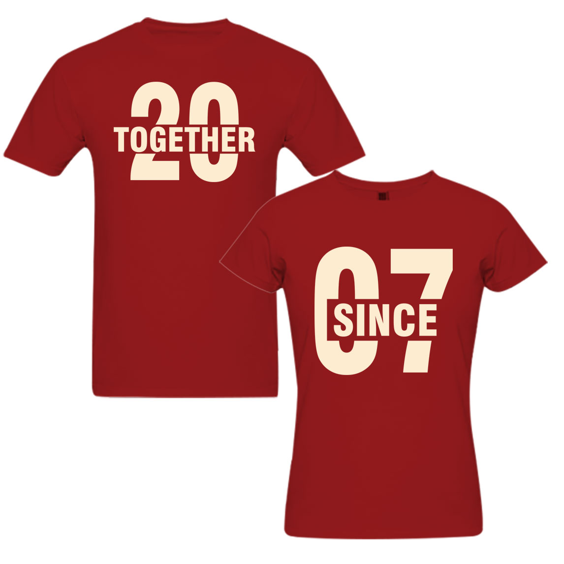 Together since 2007 couple t shirts from pepperclub india for Couple printed t shirts india