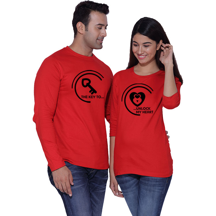 Lock And Key To My Heart Matching Couple T Shirts
